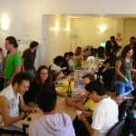 students eating together in the inflexyon foyer
