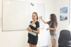 Students doing French exercices