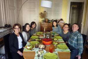 Repas avec famille d'accueil en demi-pension