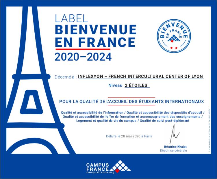certificat label Bienvenue en France Inflexyon