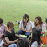 International students having a picnic