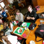 students eating during a cultural outing